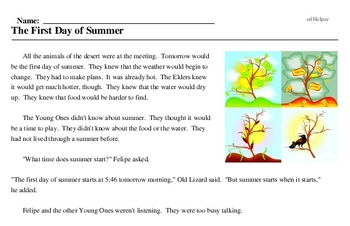 Print <i>The First Day of Summer</i> reading comprehension.