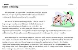 Print <i>Sumo Wrestling</i> reading comprehension.