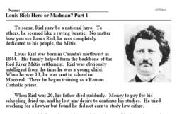 Print <i>Louis Riel: Hero or Madman? Part 1</i> reading comprehension.