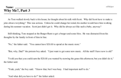 Print <i>Why Me?, Part 3</i> reading comprehension.