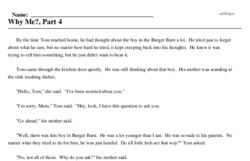 Print <i>Why Me?, Part 4</i> reading comprehension.