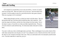 Print <i>Sidewalk Surfing</i> reading comprehension.