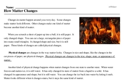 Print <i>How Matter Changes</i> reading comprehension.