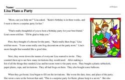 Print <i>Lisa Plans a Party</i> reading comprehension.