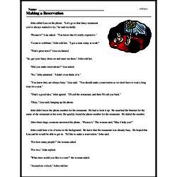 Print <i>Making a Reservation</i> reading comprehension.