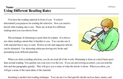Print <i>Using Different Reading Rates</i> reading comprehension.