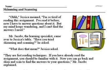 Print <i>Skimming and Scanning</i> reading comprehension.