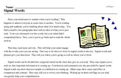 Print <i>Signal Words</i> reading comprehension.