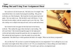 Print <i>Filling Out and Using Your Assignment Sheet</i> reading comprehension.