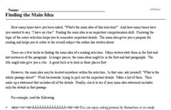 Print <i>Finding the Main Idea</i> reading comprehension.
