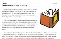 Print <i>Getting to Know Your Textbook</i> reading comprehension.