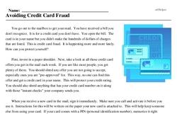 Print <i>Avoiding Credit Card Fraud</i> reading comprehension.