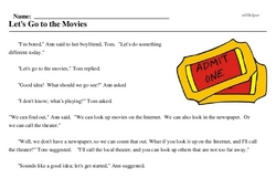 Print <i>Let's Go to the Movies</i> reading comprehension.