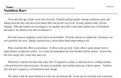 Print <i>Nutrition Bars</i> reading comprehension.