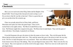 Print <i>Checkmate</i> reading comprehension.