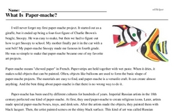 Print <i>What Is Paper-mache?</i> reading comprehension.