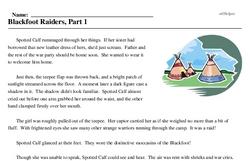 Print <i>Blackfoot Raiders, Part 1</i> reading comprehension.