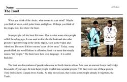 Print <i>The Inuit</i> reading comprehension.