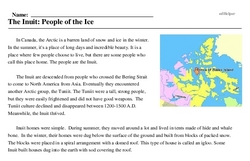 Print <i>The Inuit: People of the Ice</i> reading comprehension.