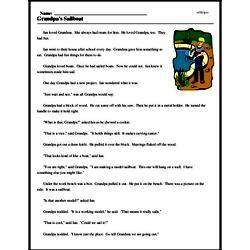 Print <i>Grandpa's Sailboat</i> reading comprehension.