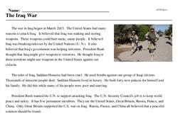 Print <i>The Iraq War</i> reading comprehension.