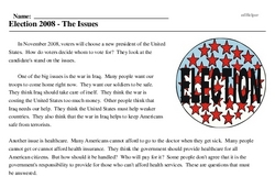 Print <i>Election 2008 - The Issues</i> reading comprehension.
