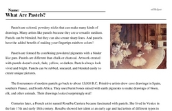 Print <i>What Are Pastels?</i> reading comprehension.