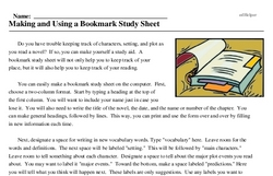Print <i>Making and Using a Bookmark Study Sheet</i> reading comprehension.