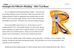 Print <i>Strategies for Effective Reading - After You Read</i> reading comprehension.