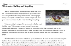 Print <i>Whitewater Rafting and Kayaking</i> reading comprehension.