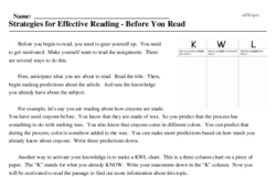 Print <i>Strategies for Effective Reading - Before You Read</i> reading comprehension.
