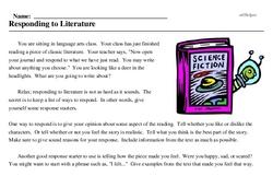 Print <i>Responding to Literature</i> reading comprehension.