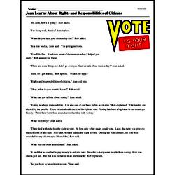 Print <i>Jean Learns About Rights and Responsibilities of Citizens</i> reading comprehension.