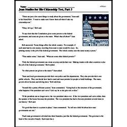 Print <i>Jean Studies for His Citizenship Test, Part 3</i> reading comprehension.