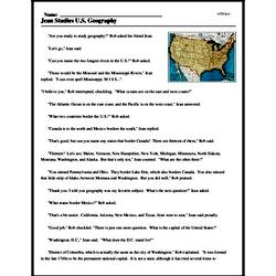 Print <i>Jean Studies U.S. Geography</i> reading comprehension.