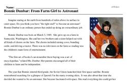 Print <i>Bonnie Dunbar: From Farm Girl to Astronaut</i> reading comprehension.