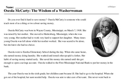 Print <i>Oseola McCarty: The Wisdom of a Washerwoman</i> reading comprehension.