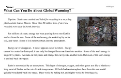 Print <i>What Can You Do About Global Warming?</i> reading comprehension.