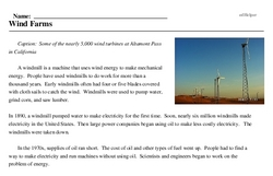 Print <i>Wind Farms</i> reading comprehension.