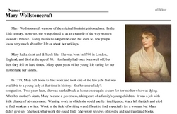 Print <i>Mary Wollstonecraft</i> reading comprehension.