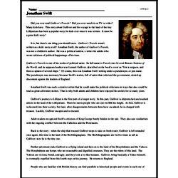Print <i>Jonathan Swift</i> reading comprehension.