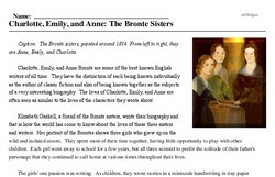 Print <i>Charlotte, Emily, and Anne: The Bronte Sisters</i> reading comprehension.
