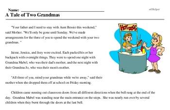 Print <i>A Tale of Two Grandmas</i> reading comprehension.