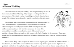 Print <i>A Dream Wedding</i> reading comprehension.