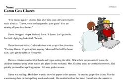 Print <i>Garon Gets Glasses</i> reading comprehension.