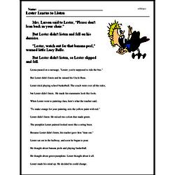 Print <i>Lester Learns to Listen</i> reading comprehension.