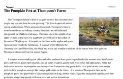 Print <i>The Pumpkin Fest at Thompson's Farm</i> reading comprehension.
