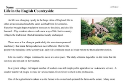 Print <i>Life in the English Countryside</i> reading comprehension.