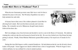 Print <i>Louis Riel: Hero or Madman? Part 2</i> reading comprehension.