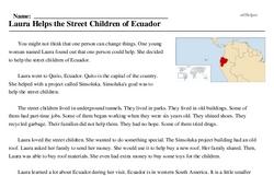 Print <i>Laura Helps the Street Children of Ecuador</i> reading comprehension.